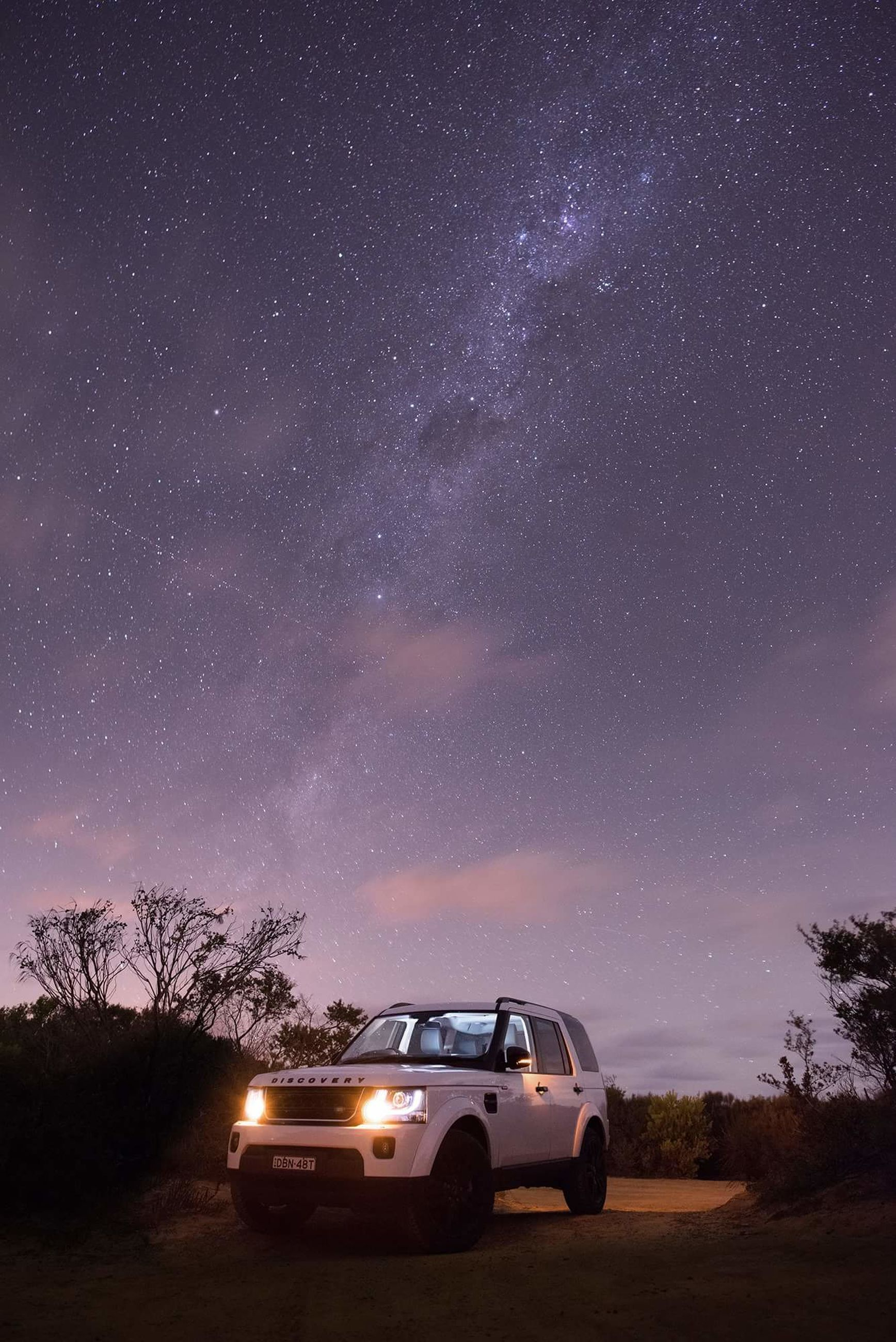 night, star - space, star field, tree, sky, astronomy, star, galaxy, scenics, transportation, constellation, tranquil scene, car, milky way, beauty in nature, space, nature, landscape, tranquility, low angle view