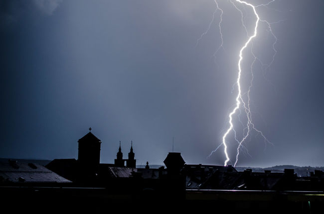 Bayreuth Church Towers City Dark Darkness And Light Lightning Silhouette Sky Skyline Thunderstorm