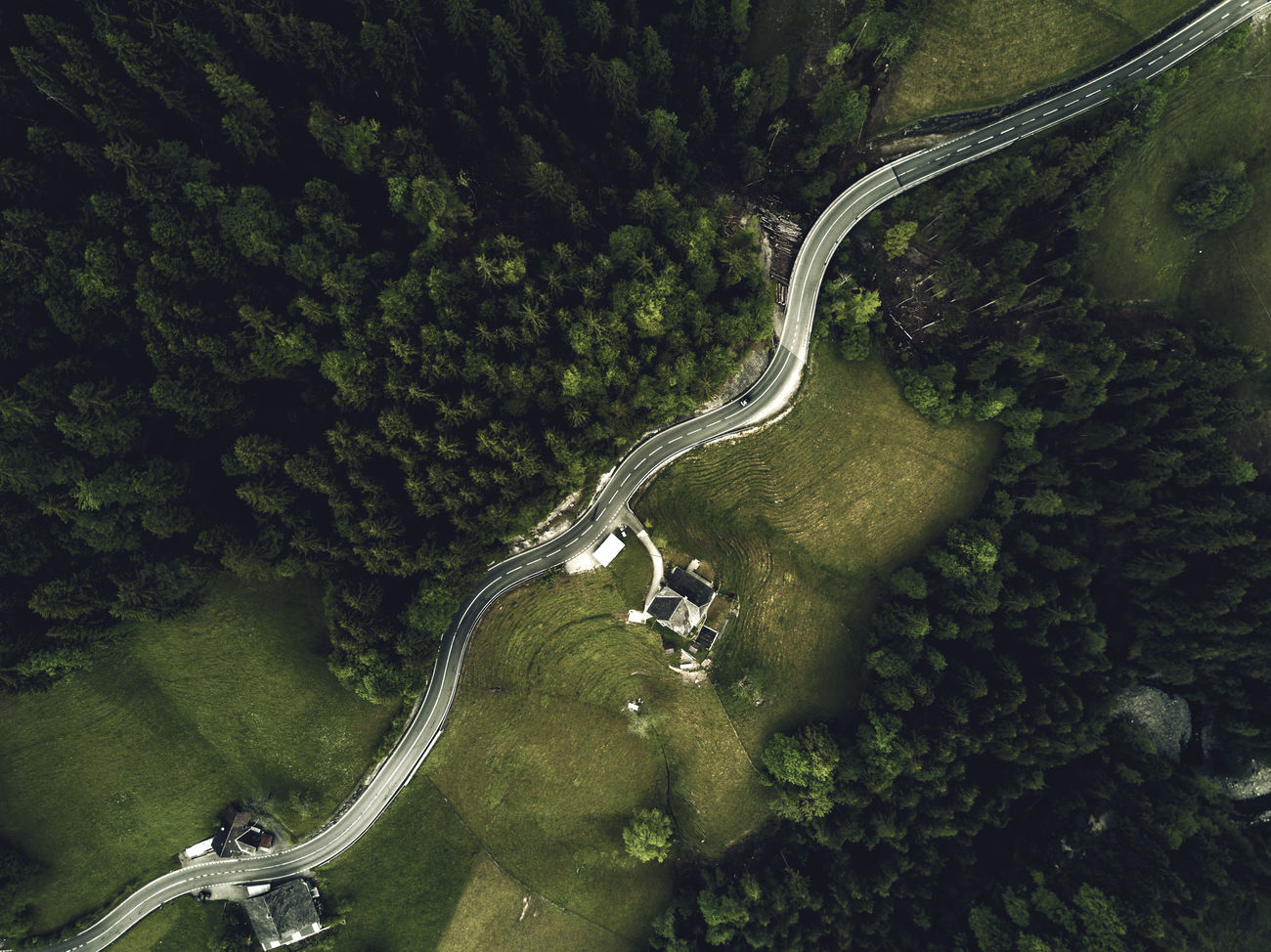 Original Version Aerial View Curve Dronephotography High Angle View Mountain Road Road Scenics Transportation Tree Winding Road