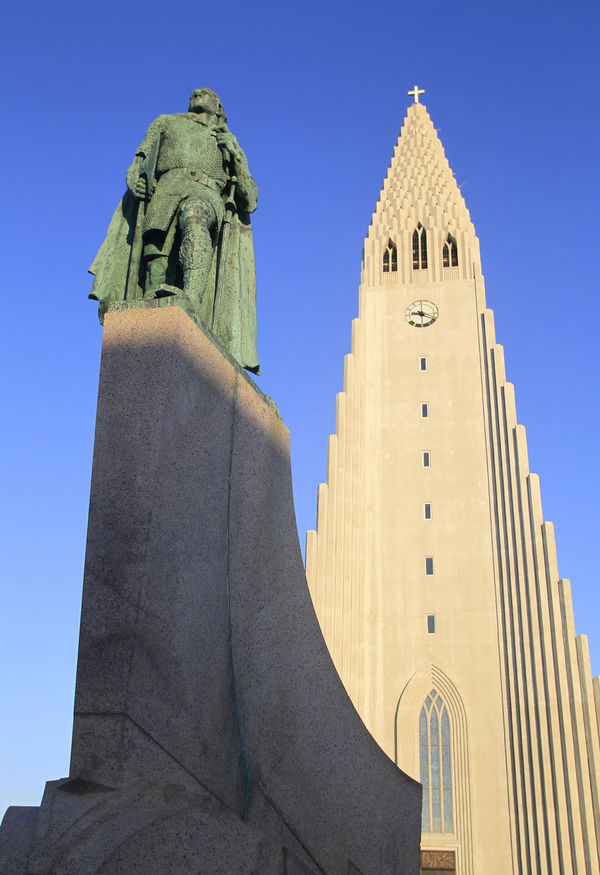 Hallgrimskirche, Reykjavik, Iceland Architecture Archival Blue Built Structure Day Hallgrimskikja Church Hallgrimskirche Hallgrìmskirkja Iceland Iceland_collection Leif Eriksson Leif Eriksson Statue Low Angle View No People Outdoors Reykjavik Sky