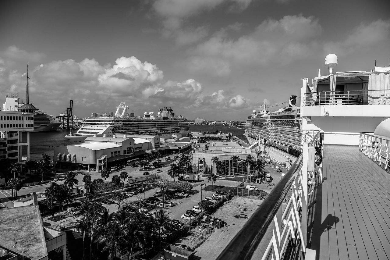 Port of the Everglades Architecture Boat Ride Building Exterior Built Structure City Cityscape Cloud - Sky Cruise Ship Florida Life Fort Lauderdale  Fujifilm X-pro2 Fujifilm_xseries Holland American Lines Monochrome Outdoors Photographyisthemuse Scenic Scenic Landscapes Sky Sunny Day Travel Travel Destinations Travel Photography Vacation View From Above