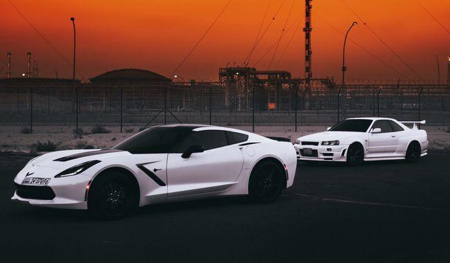 Good evening 🇰🇼 Car Transportation Mode Of Transport Traffic Land Vehicle Driving No People Horizontal Motorsport Kuwait Street Race GTR Corvette 2016