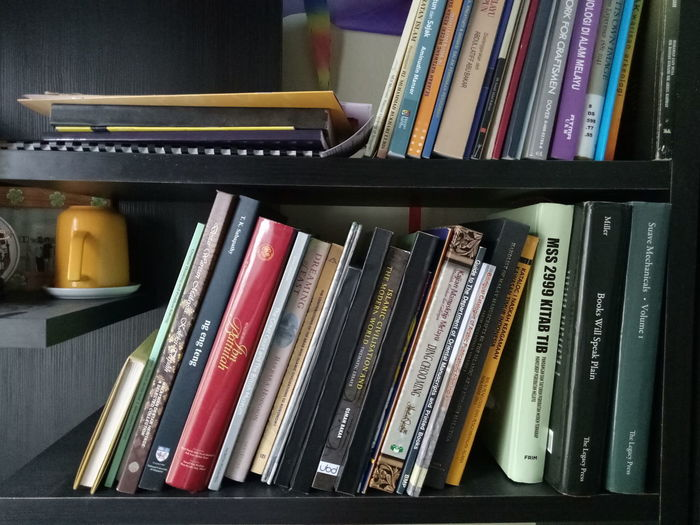 Bookshelf Books Lover Large Group Of Objects Music Arts Culture And Entertainment Choice Indoors  Education Multi Colored Bookshelf No People Musical Instrument Library Day Close-up Illustrative Editorial