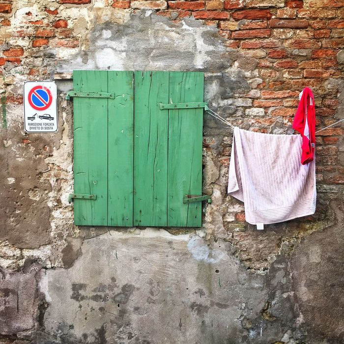 Architecture No People Building Exterior Green Color Hanging Wall Window Decadence Chioggia, Italy Venice, Italy