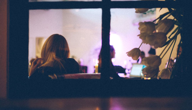 Blond Blond Girl Blond Hair Cafe Flowers Night Pink Color Pink Hue Stockholm