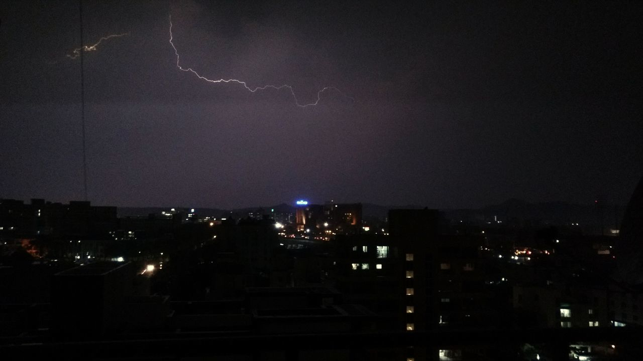 lightning, night, thunderstorm, forked lightning, illuminated, power in nature, cityscape, weather, danger, storm, city, no people, storm cloud, nature, sky, outdoors