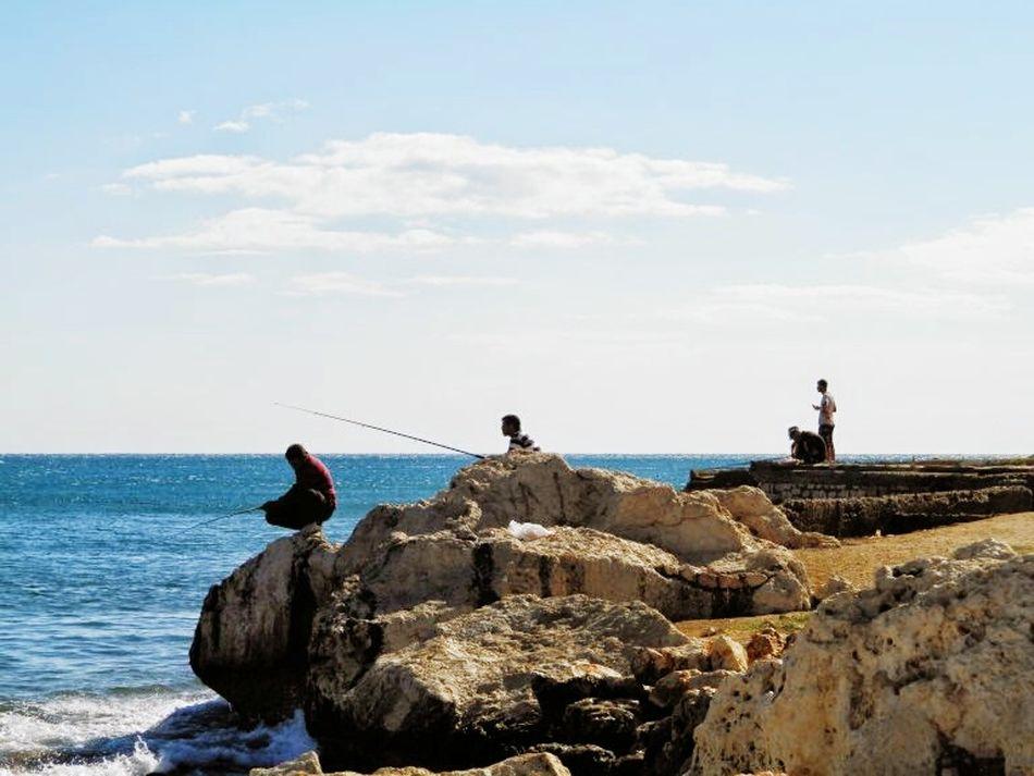 Sea Seaside Fishing Man Sea And Sky Sunnyday☀️ EyeEm Nature Lover Eye4photography  EyeEm Best Shots