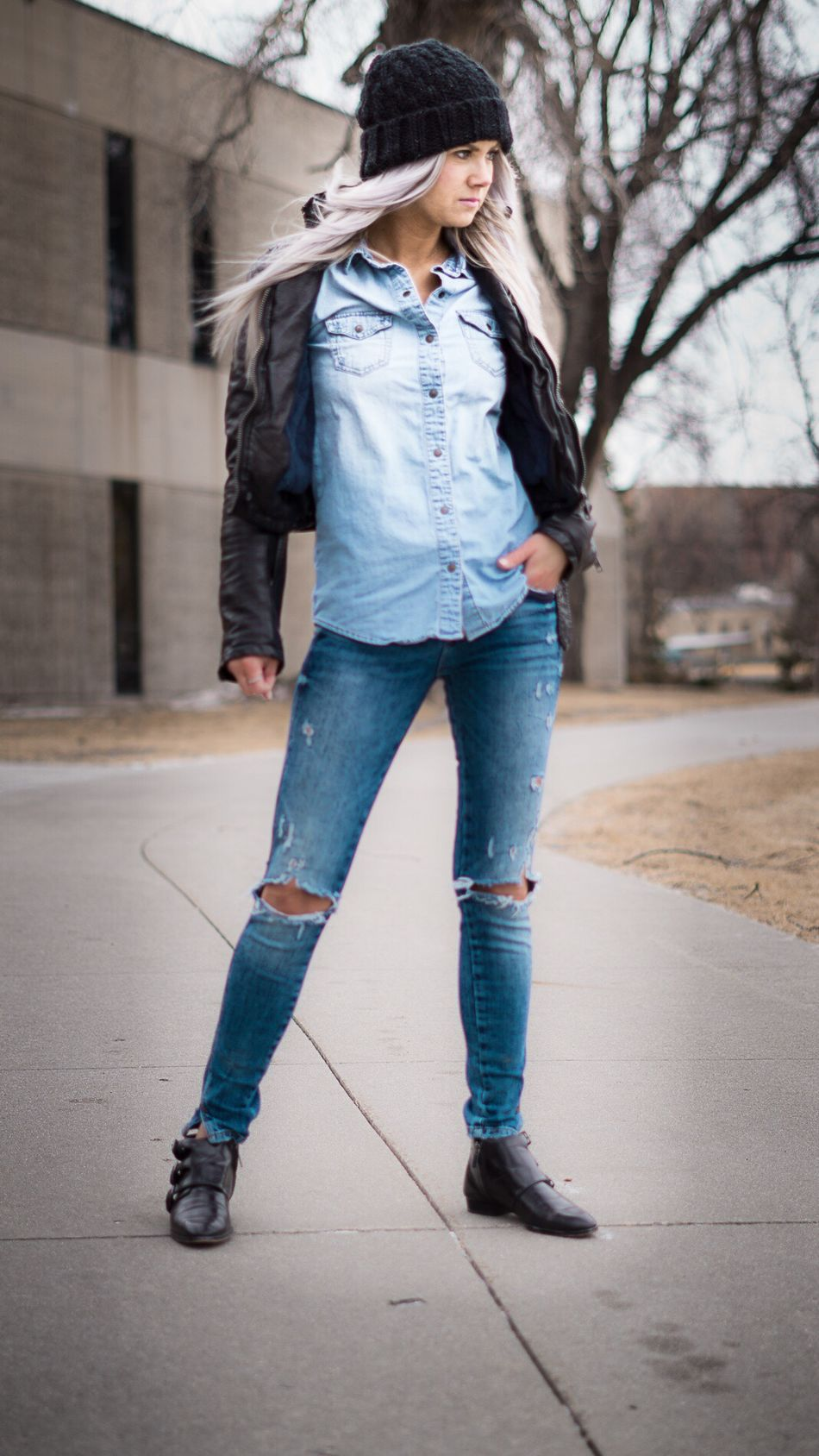 Streetphotography Full Length One Person Casual Clothing Denim Jeans Outdoors Real People Day City Leather Jacket Fashion&love&beauty Fashion Photography Fashion Style Lifestyle