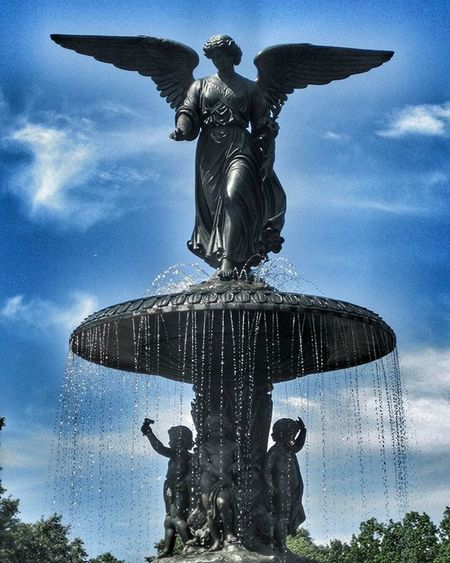 You don't have to be an angel, just be someone who can give. Patti LaBelle MyPhotography Sarazjourneys CentralPark Fountain Statue Angel Bluesky