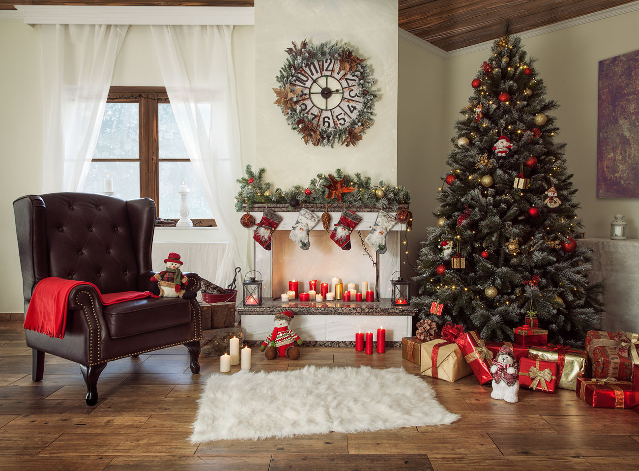 Beautiful decorated living room with a christmas tree and a fire place Armchair Art Background Bright Brown Candles Christmas Classic Decoration Design Dezember Festive Fire Fireplace Green Indoor Presents Red Seasonal Traditional Tree White Window Winter Xmas