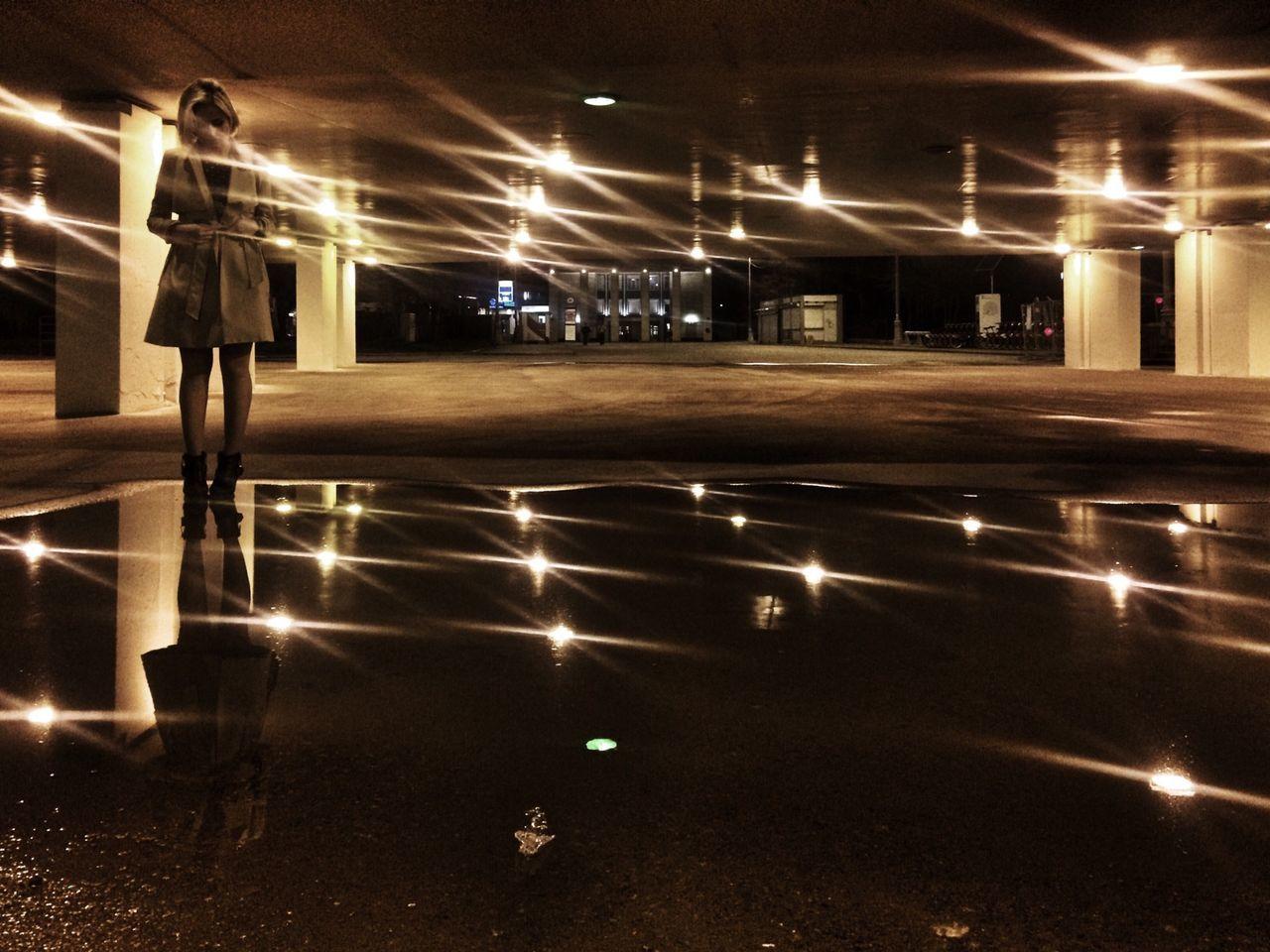 illuminated, night, transportation, lighting equipment, light beam, real people, motion, architecture, men, outdoors, people