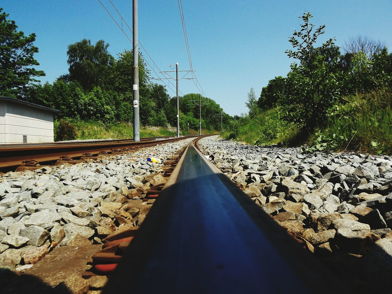 railroad track, rail transportation, tree, the way forward, transportation, day, cable, no people, connection, growth, nature, outdoors, sky, railroad tie, clear sky, electricity pylon