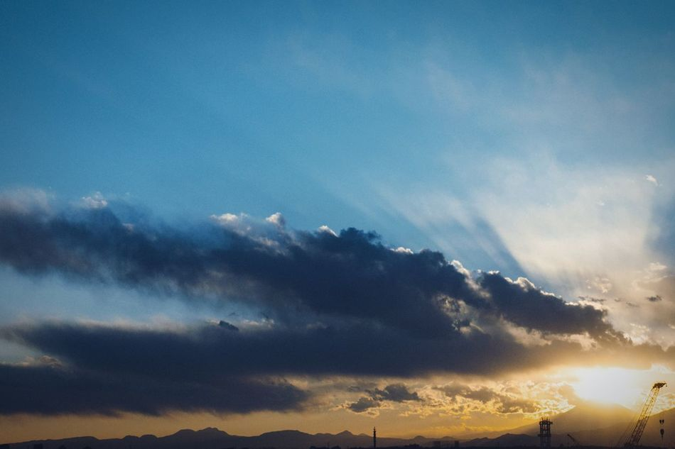 Sunset Silhouettes Mt Fuji Mt Fuji, Japan Clouds And Sky Cloud - Sky Blue Sky Blue Sky Beauty In Nature Beauty In Nature No People Evening Sky From My Point Of View Atomosphere The End Of Winter Cityscape Yokohama Japan Yokohama, Japan February February 2017