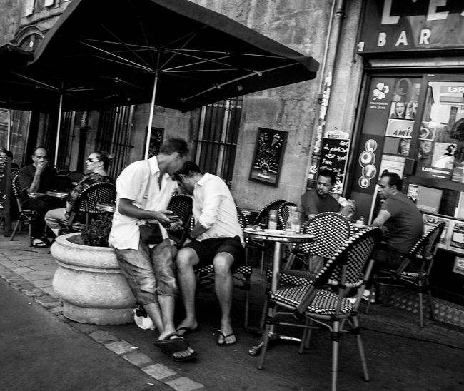People Together By August 3 2016 Aix En Provence France Coffee Time Blackandwhite