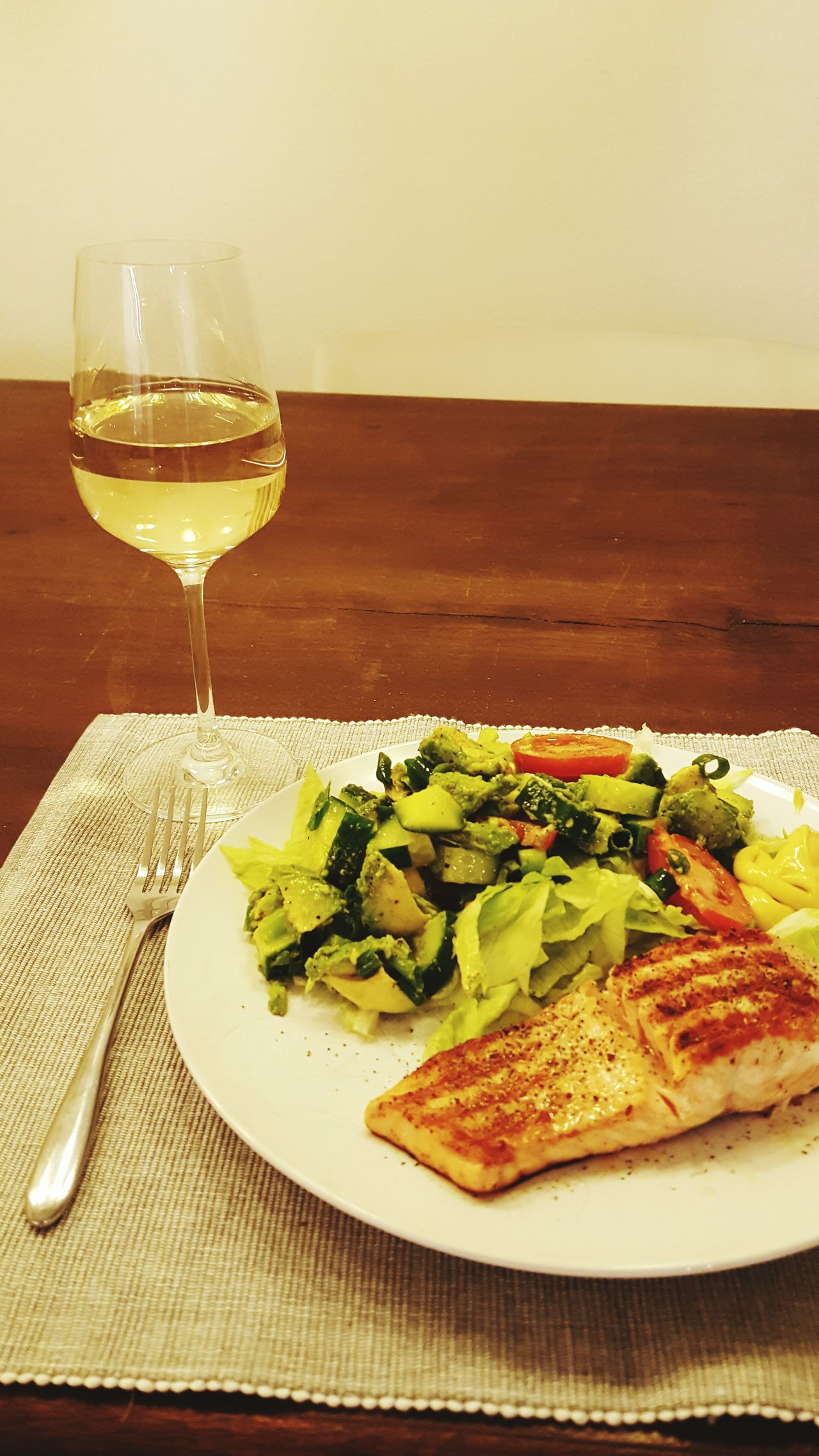 Wineglass Wine Food And Drink Drinking Glass Food Indoors  Table Alcohol No People Plate Healthy Eating Ready-to-eat Salmon Dish Salade