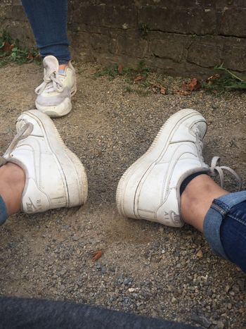 Human Leg Low Section Shoe High Angle View Day Human Body Part Real People Outdoors Standing Men Women Adult People Adults Only