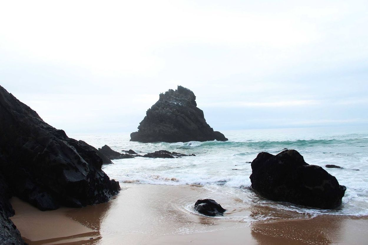 Awe Beach Beauty In Nature Cliff Day Geology Horizon Over Water Idyllic Landscape Nature Ocean Outdoors Portogallo Portugal Rain Reflex Reflex On Water Rock - Object Rocks Rocks And Water Scenics Sea Sky Tranquil Scene Tranquility