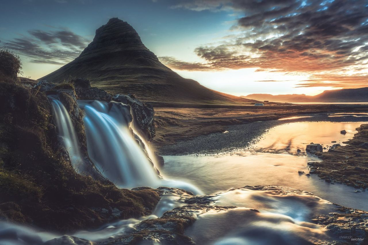 Sunset Water Beauty In Nature Mountain Sky Rock - Object Nature Idyllic Cloud - Sky Tourism Flowing Water Iceland Earth Exploring Tranquility Flowing Viajar Nature Tranquil Scene First Eyeem Photo
