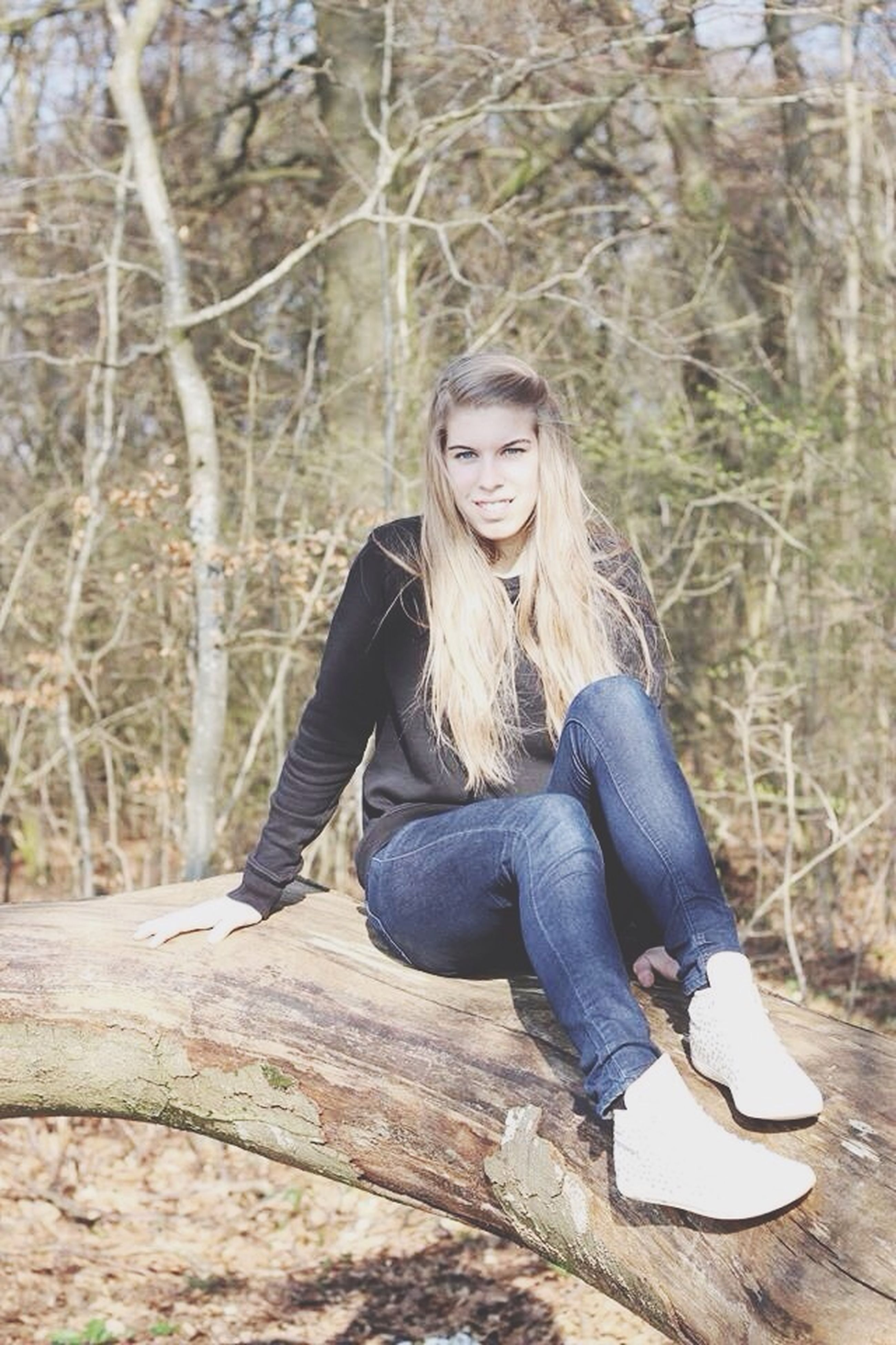 young adult, sitting, person, lifestyles, casual clothing, tree, young women, leisure activity, forest, full length, relaxation, portrait, looking at camera, front view, three quarter length, side view