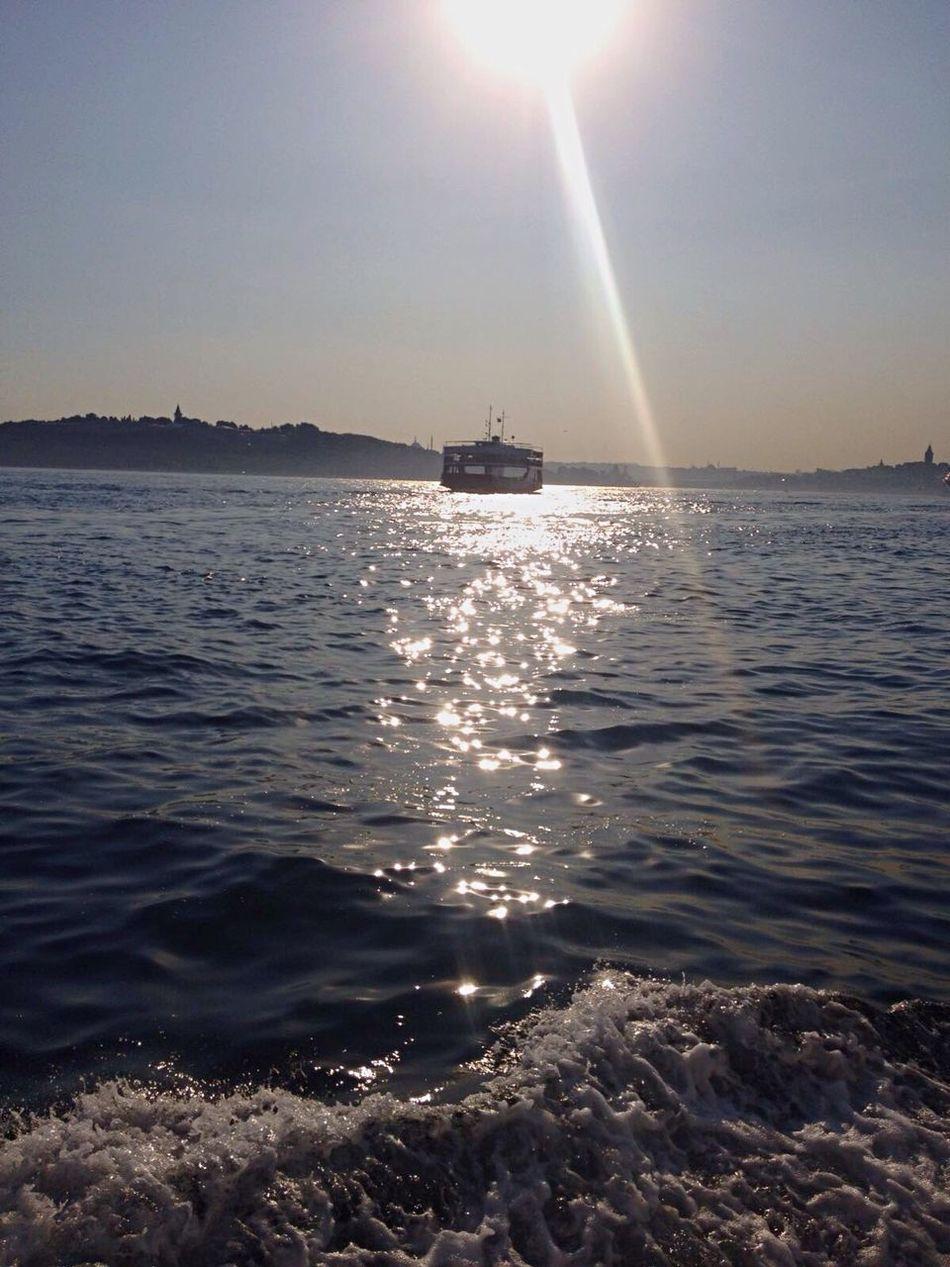 Istanbul 🌿 Sea Water Sun Boat Sunlight Transportation Istanbul Meer Deniz Vapur Ve İstanbul Vapur Beauty In Nature