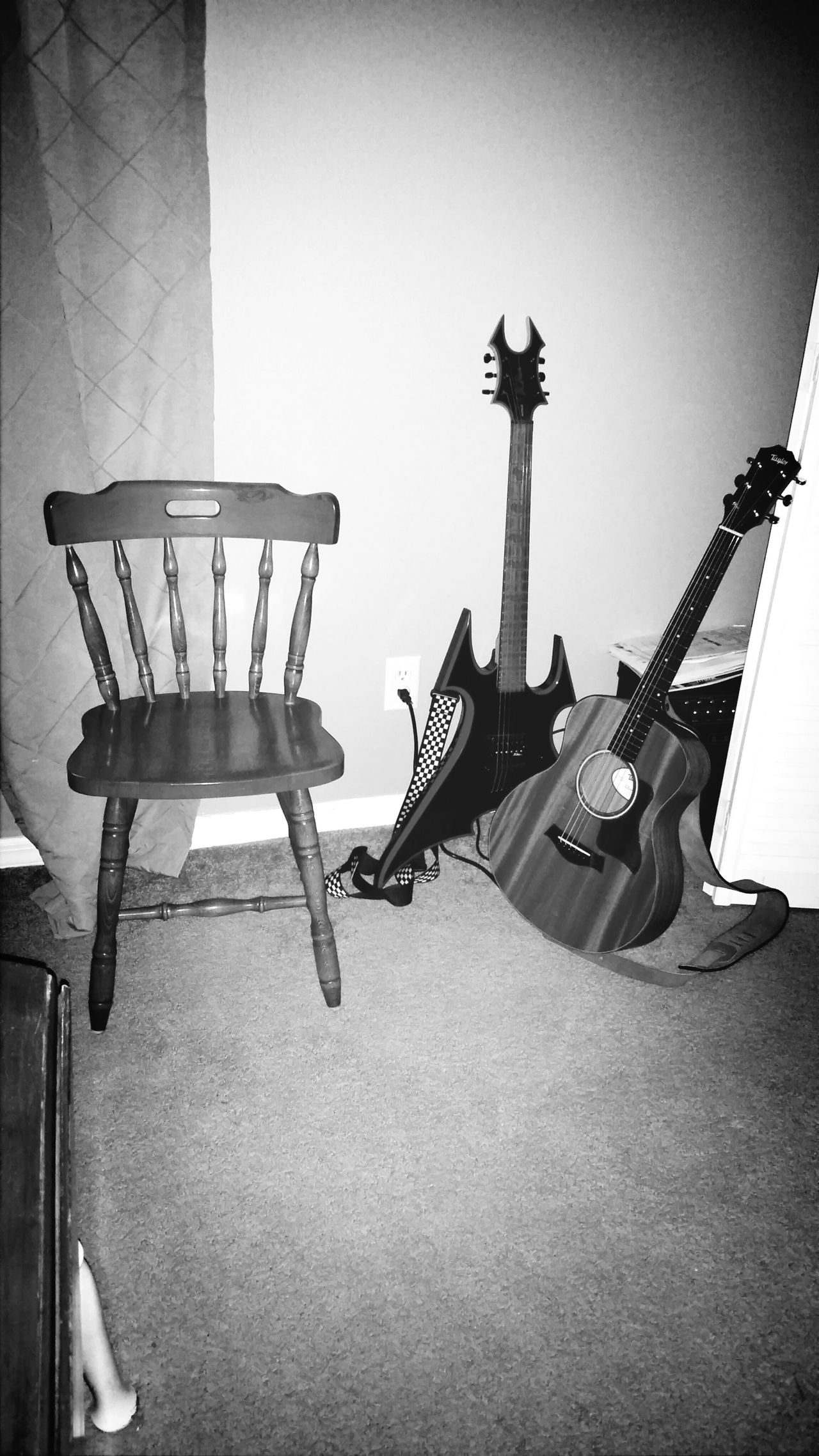 My Corner Black & White Guitar Jamming