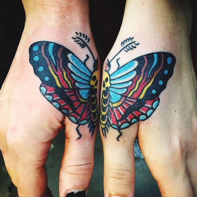 Artist : Josh Persons @ HB Tattoo in Huntington Beach, CA Bestfriendtattoo Deathmoth Traditional Steviteague Hbtattoo Matchingtattoos