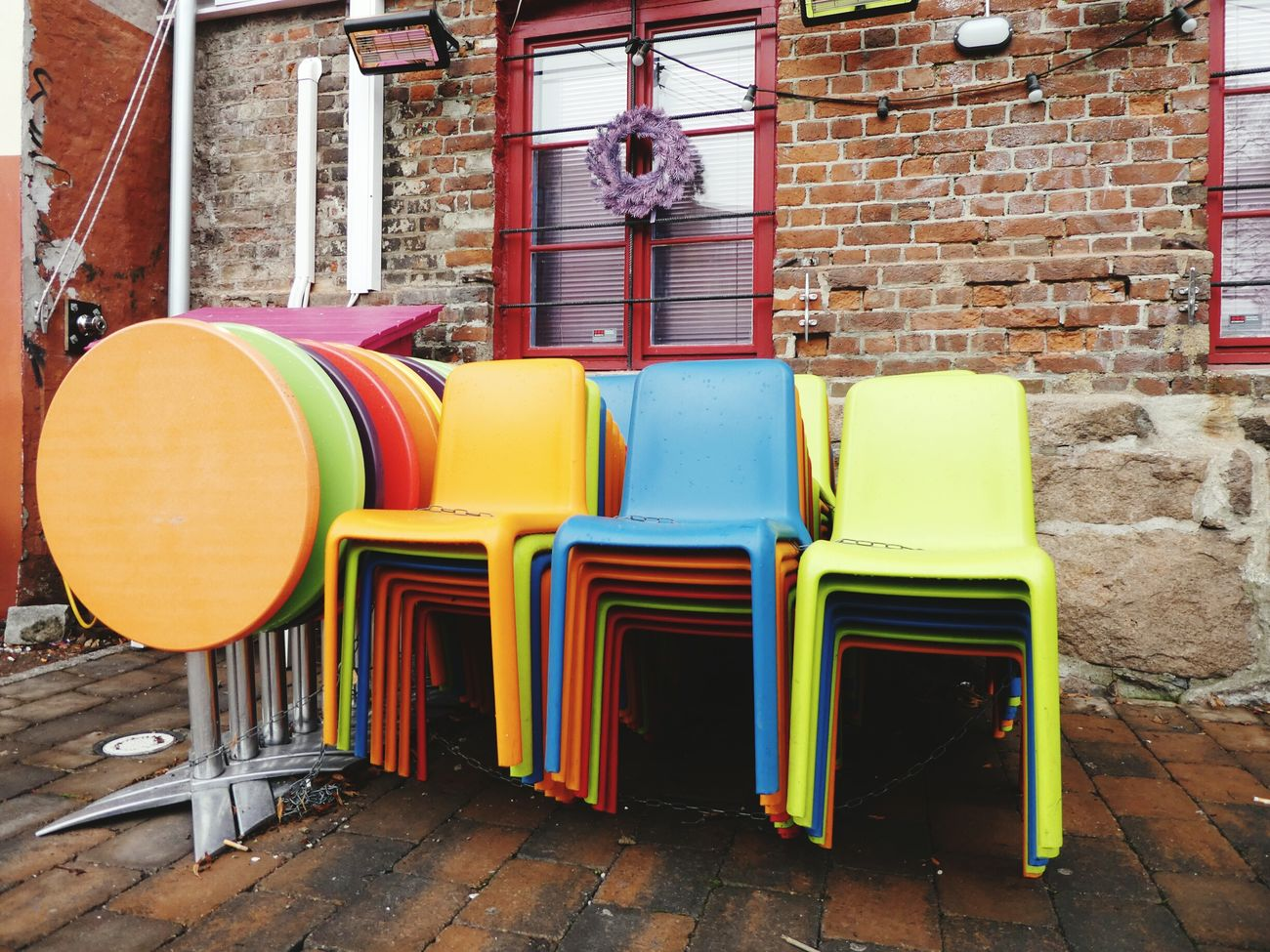 Waiting For Spring Chairs And Tables Colours Brick Wall Sunday Walk Walking Around Taking Pictures City Life Urban Lifestyle Akerselva