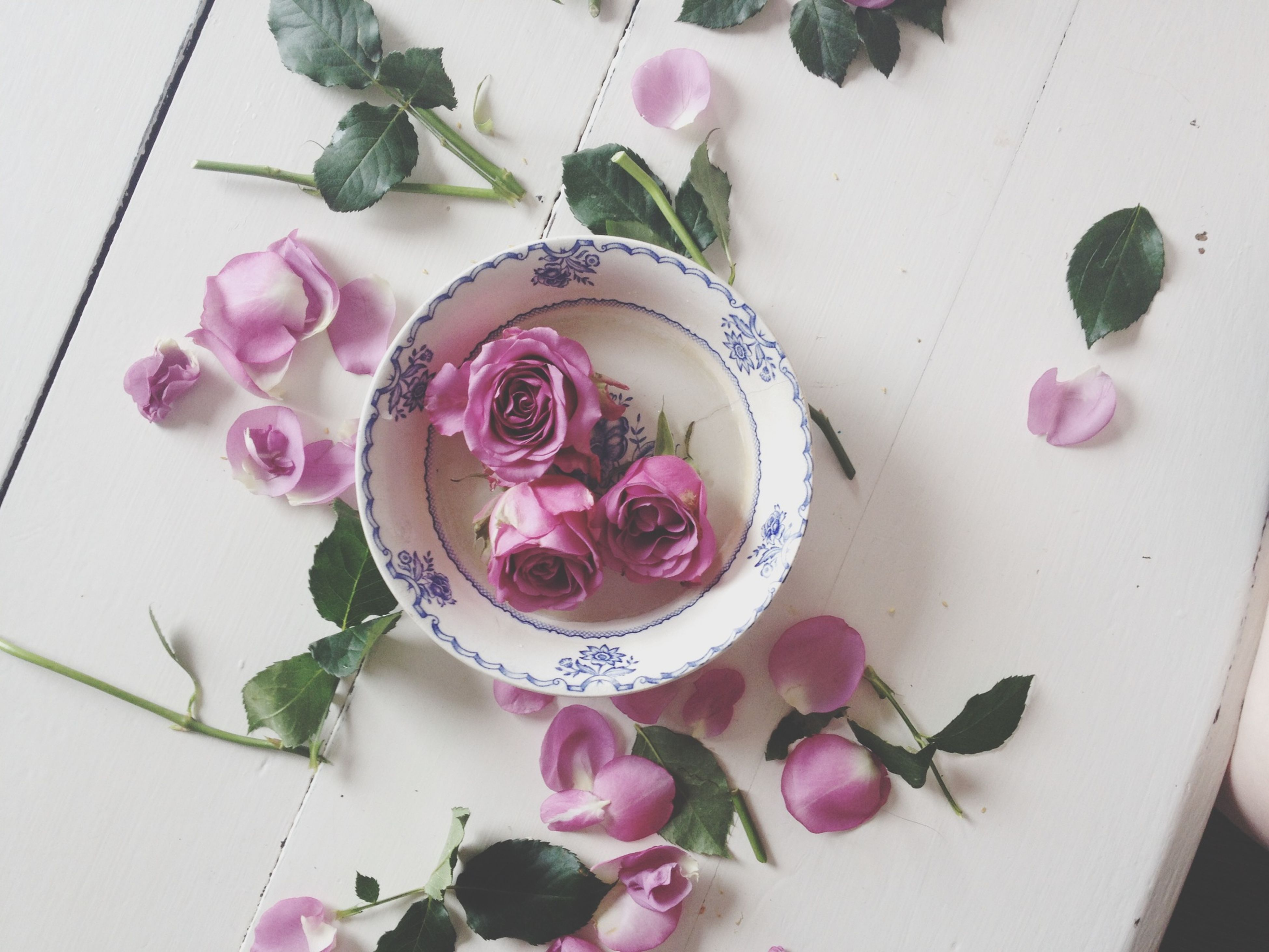 flower, indoors, freshness, pink color, vase, table, decoration, petal, high angle view, fragility, still life, rose - flower, bouquet, close-up, plant, leaf, potted plant, flower head, no people, wall - building feature