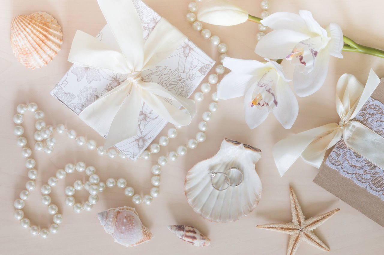 Beads Light Colors Objects Orchid Pastel Colors Present Ring Seashell Seastar White Wooden Background