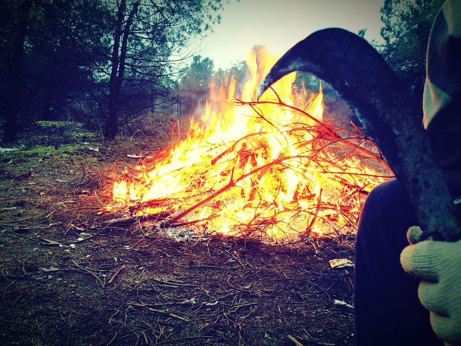 IPhoneography Fire Firewood Woodcutter Wood Jungle Putting Out A Fire Sickle Scythe Fireplace