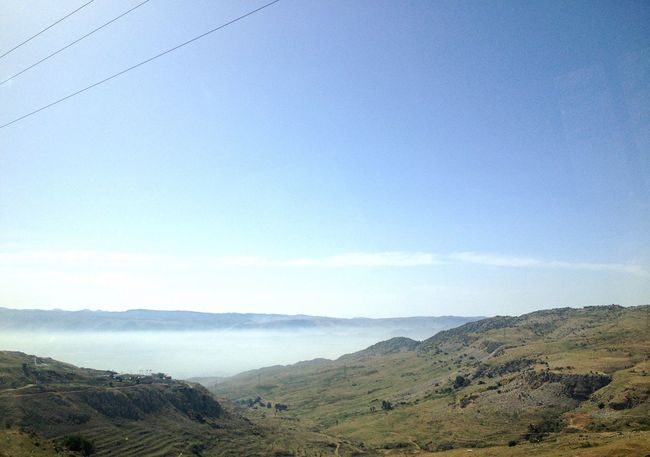Mountains And Valleys Fog in the Beqaa valley Lebanon Green And Blue