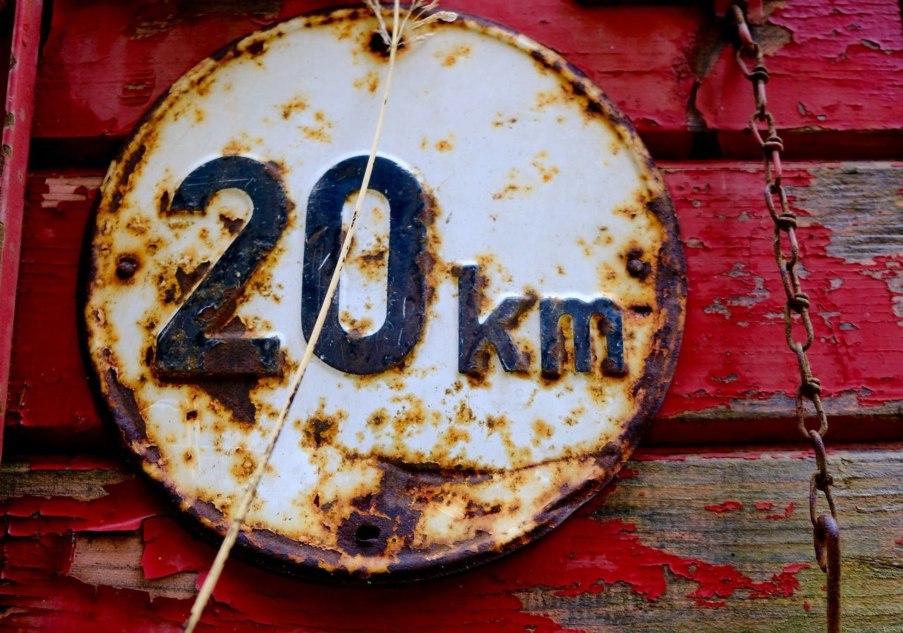 20 20 Km Close-up Km No People Old Old Sign Red Sign Traffic Sign Twenty20 Wooden Texture