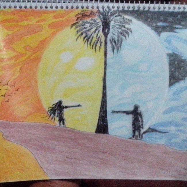 Ella mi Luna yo su Sol. Art Colors Pencils Sketch Sol Luna Intaart Instapic