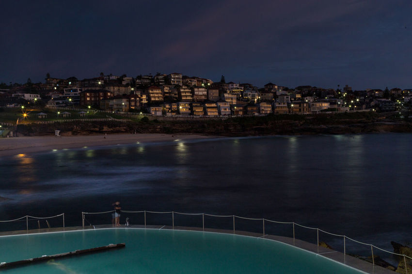 Architecture Beach Beach Pool Bronte, Sydney. Building Exterior City Cityscape Homes Illuminated Lights And Shadows Night Outdoors Park Rock Sand Shoreline Sky Street Life Urban Skyline Water Winter