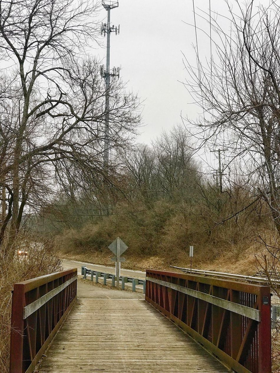 Railing Tree Outdoors Bare Tree No People Tranquility Bridge - Man Made Structure Sky Nature Day Wheelchair Access The Week On Eyem Exceptional Photographs Landscape_Collection Landscape Landscape_photography Oswego, IL Montgomery, IL