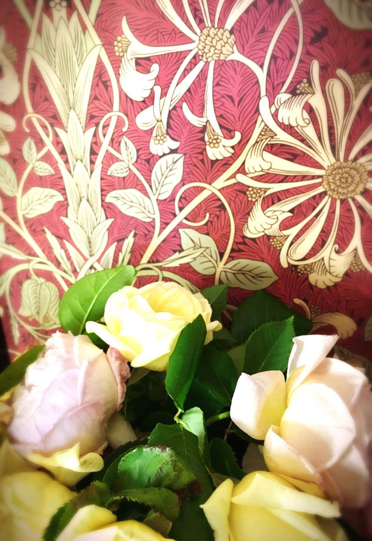 Roses Honeysuckle And Tulips Wallpaper William Morris