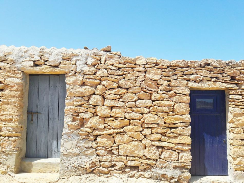 Blue House Stone Wall Stone House Rural Architecture Formentera