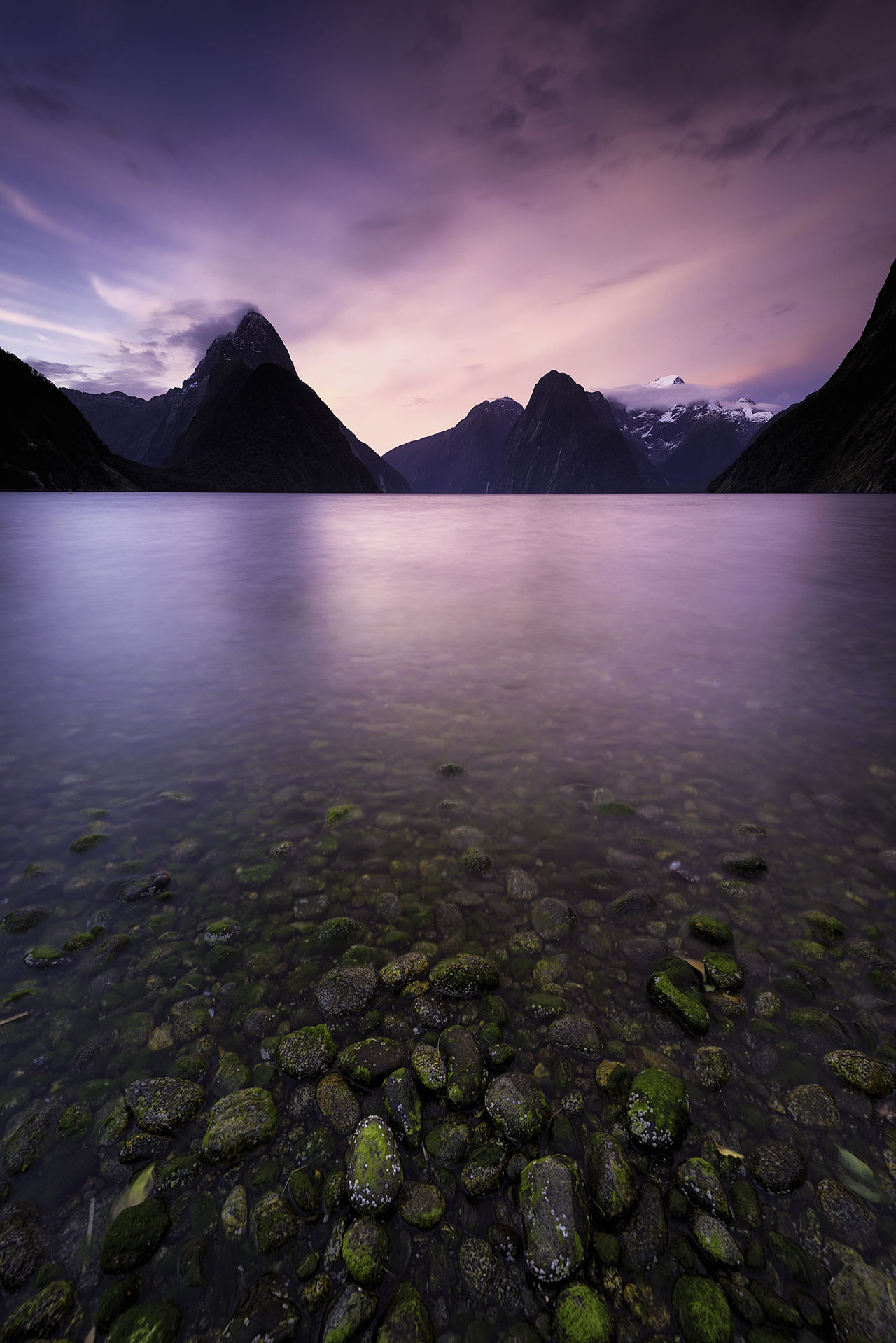 Dramatic Sky Landscape Milford Sound Milford Sound, New Zealand Mountain Nature No People Outdoors Pacific Ocean Pebbles On A Beach Scenics Seascape Solitude And Silence Solitude By The Water Sunset Tranquility Travel Travel Destinations Water