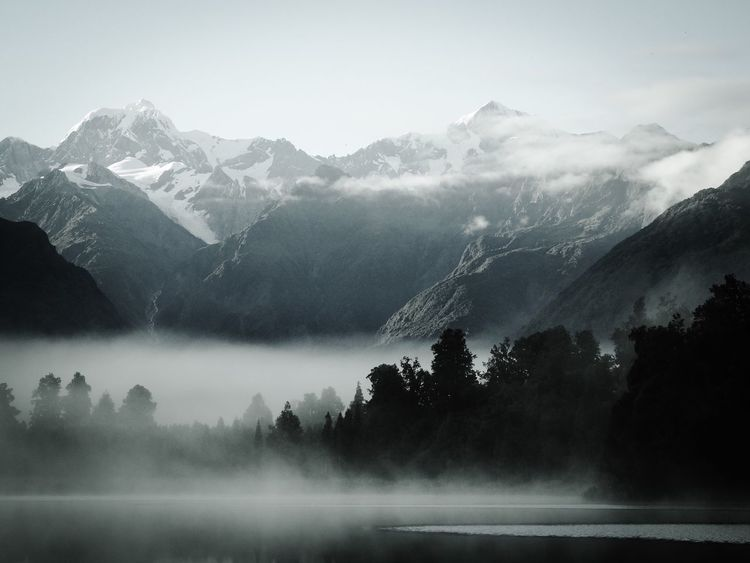 Mountain Nature Fog Beauty In Nature Water Mist Lake No People Landscape Scenics Sky Scenery Day Outdoors Morning Light Foggy Blackandwhite Black And White Lake View New Zealand Lake Matheson Mount Cook Silence Morning Trees
