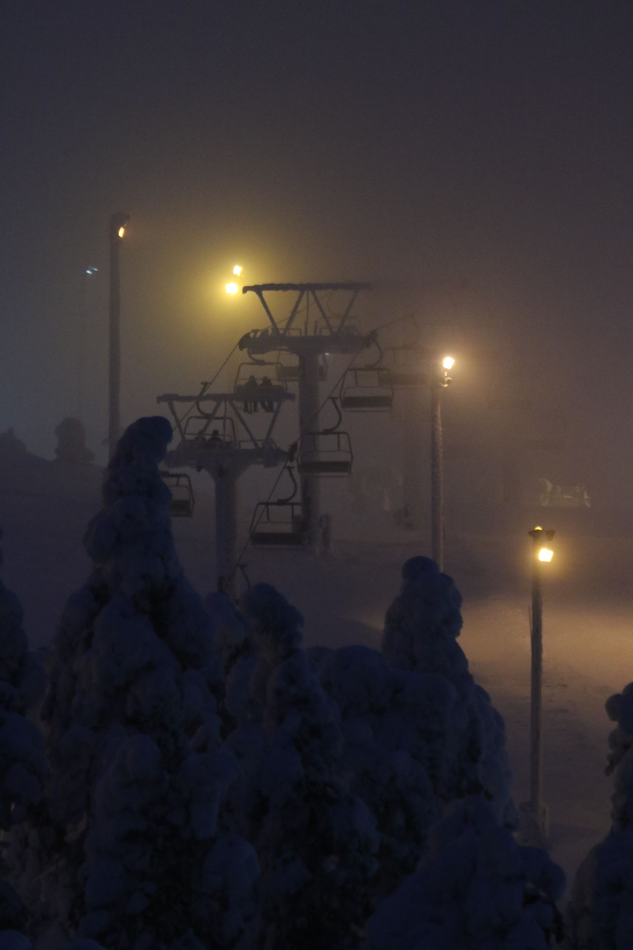 Cable Car Cold Temperature Finnland Illuminated Night No People Outdoors Ski Lift Snow Winter
