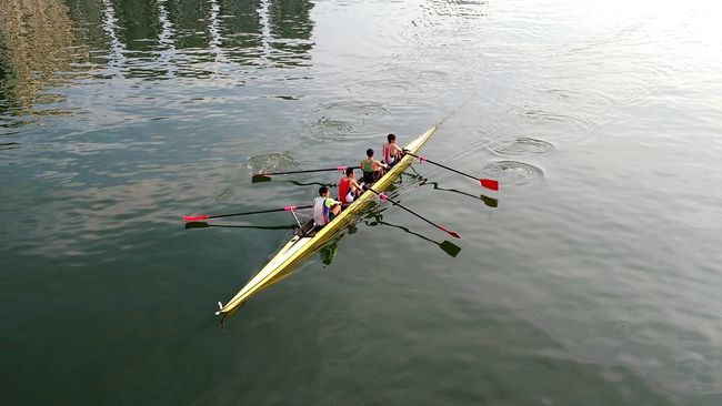 Four men in a canoe Boat Canoe Canoeing Paddles Ripples In The Water River Sha Tin Shing Mun River Team Water Rowing Oar People Together