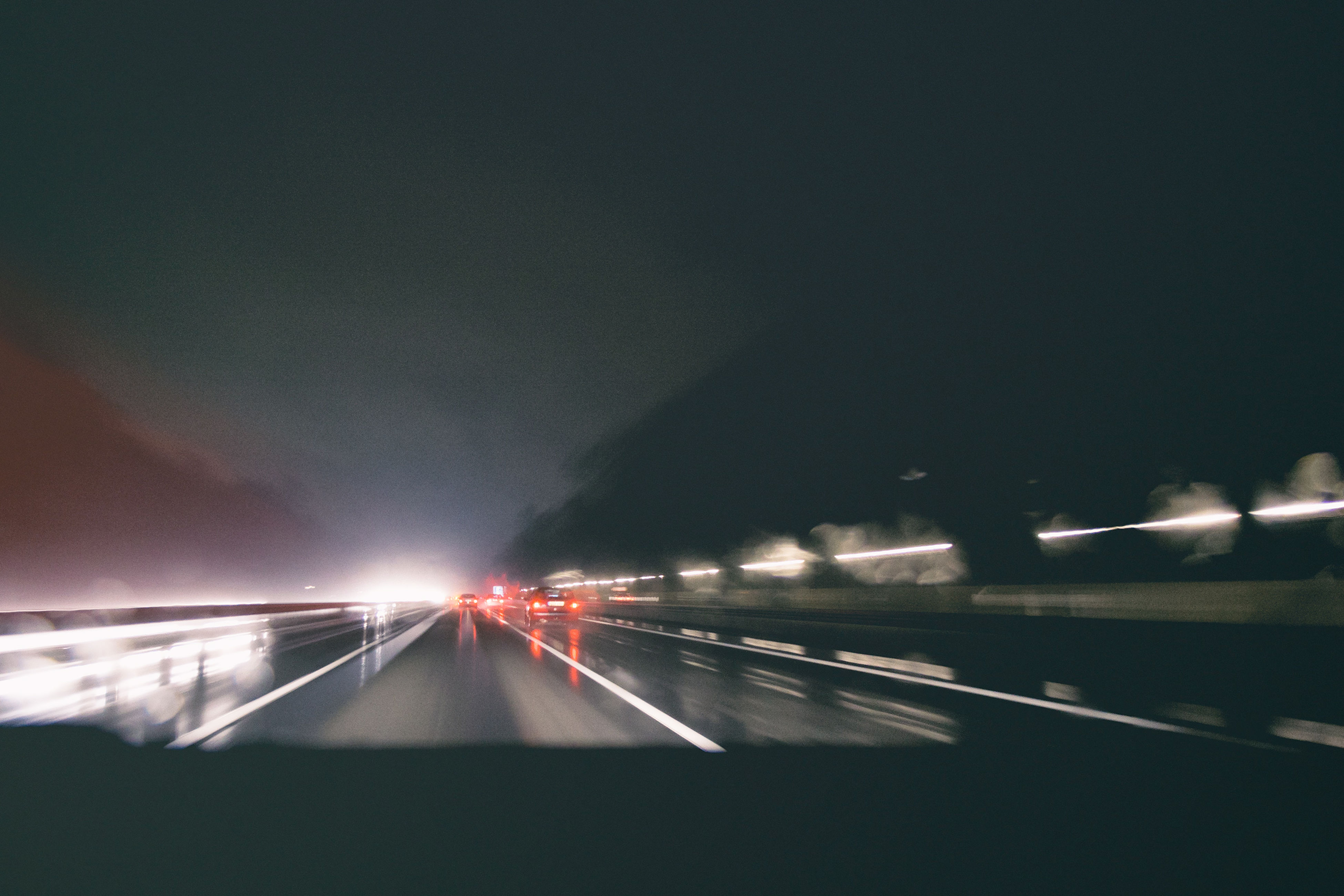 transportation, illuminated, road, night, speed, the way forward, on the move, motion, mode of transport, car, long exposure, blurred motion, land vehicle, road marking, highway, sky, light trail, diminishing perspective, travel, street