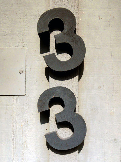 33 Black Number Close-up Metal Industry Metal Numbers No People Number Outdoors Sunny Day Thirty Three Threes