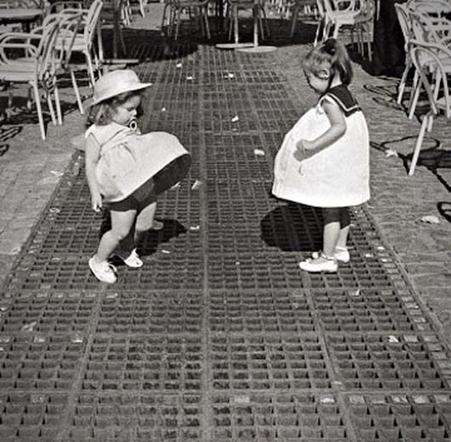 Marilyn Monroe, eat you heart out! Childhood Togetherness Bonding Family Innocence Street Marilyn Monroe Subway Grate The 60's Black & White Dresses Cousins  Love Lifestyles Casual Clothing Leisure Activity Walking Day Girls Having Fun People And Places Coney Island / Brooklyn NY Coney Island