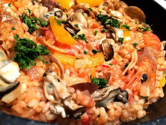 海老 Shrimp と しめじ Shimeji Mushroom と パプリカ Paprika と熊本産の あさり Manila Steamer Clams Manila Clams  を トマト Tomato 味のリゾットに。 Food Meal Ready-to-eat Freshness Vegetable From My Point Of View Freshness Cooking Meal Foodporn