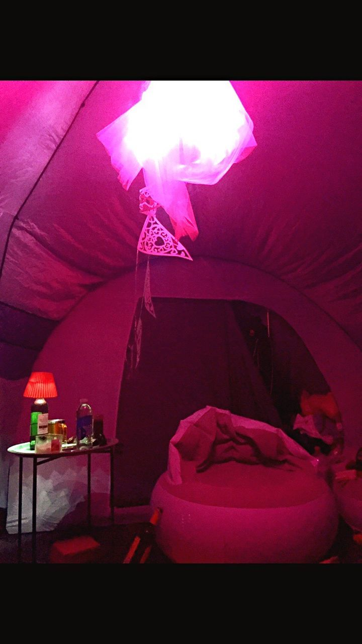 indoors, pink color, no people, illuminated, curtain, tent, bedroom, day