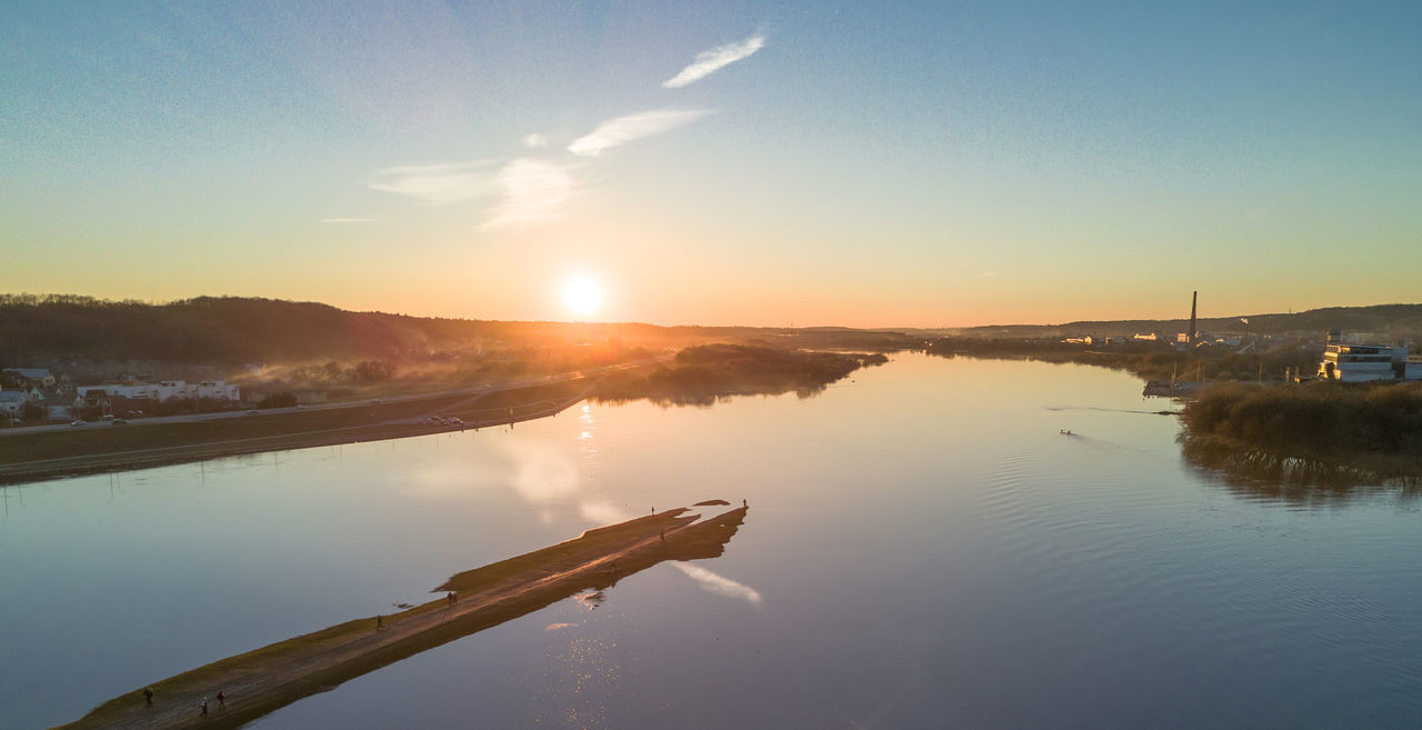 Confluence of two rivers Nemunas and Neris Aerial Shot City Confluence Drone  Europe Lietuva Mavic Mavic Pro Nemunas Neris Old Town River Riverside Spring Sunset Water