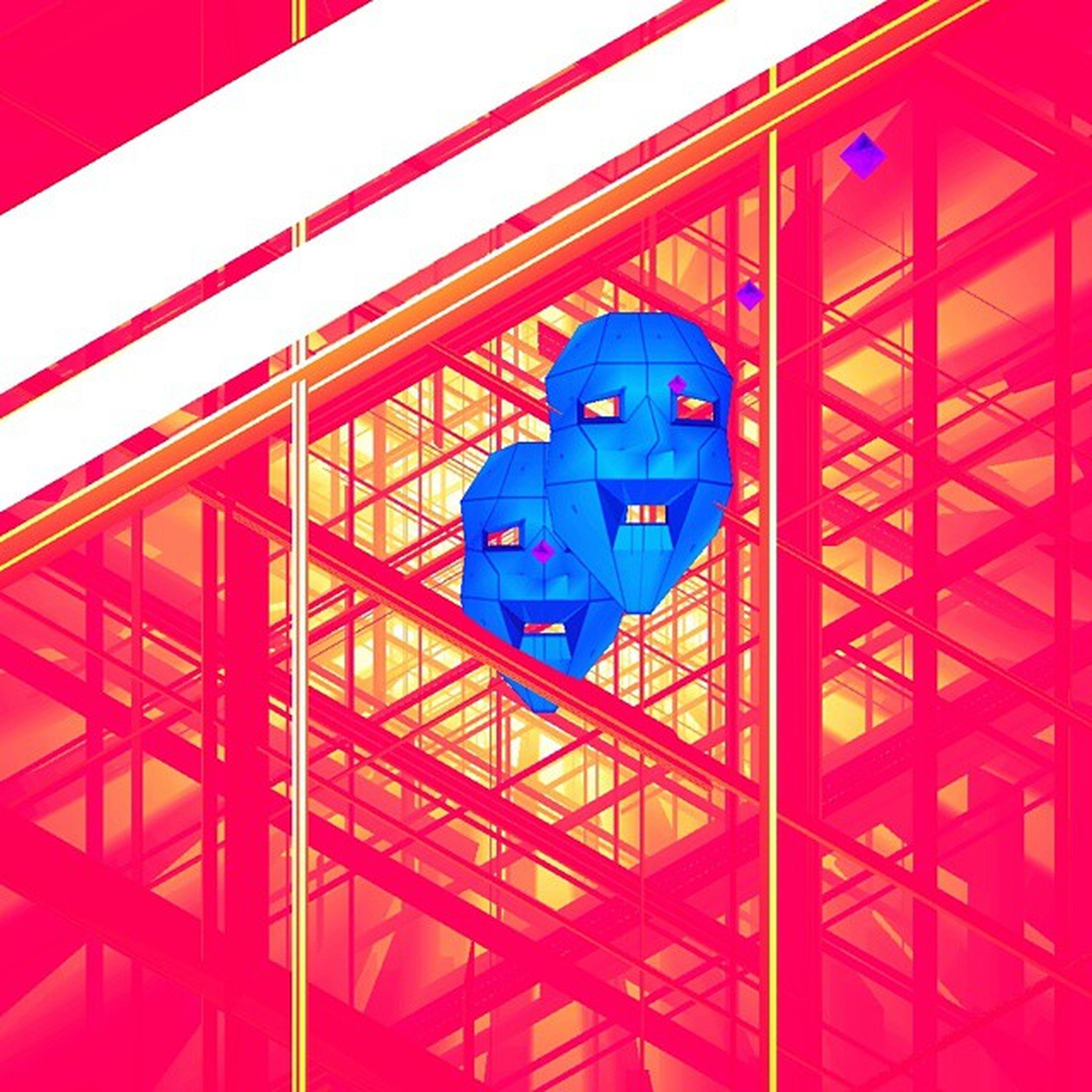 red, built structure, architecture, metal, metallic, low angle view, pattern, no people, building exterior, blue, backgrounds, full frame, geometric shape, design, indoors, day, shape, close-up, connection