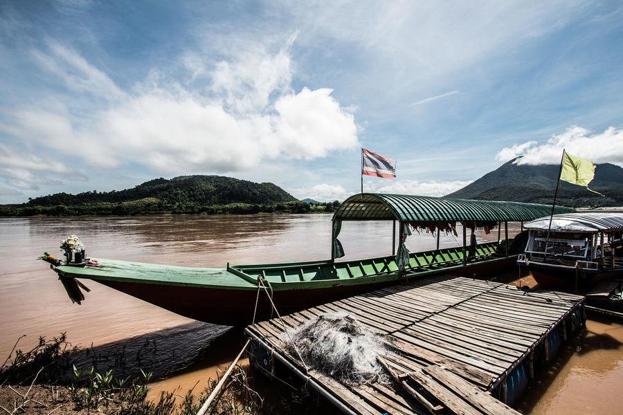 Khong River Boat Country Life Countryside Khongriverside River