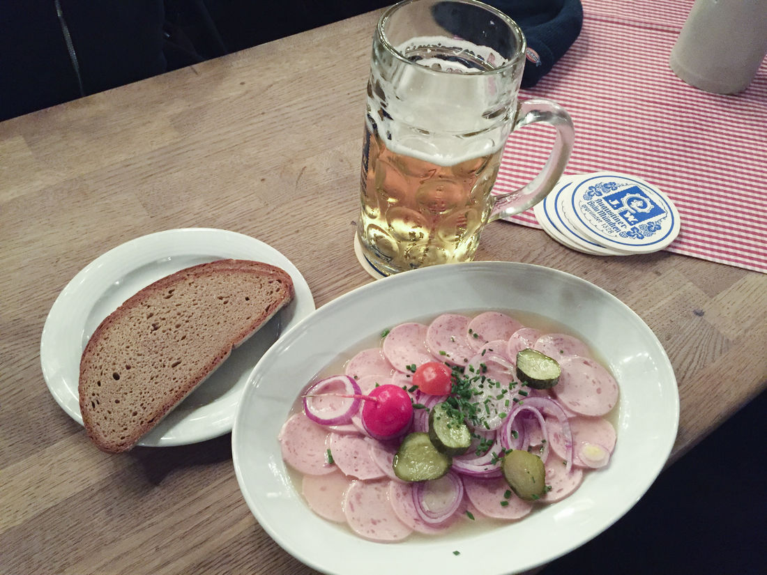 Augustiner keller Bavaria Bavarian Tradition Beer Beer Glass Beer Mug Brotzeit Close-up Day Drinking Glass Food Food And Drink Freshness Indoors  No People Plate Ready-to-eat Sausage Salad Table Wood - Material Wurstsalat